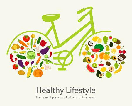 Healthy lifestyle concept in modern flat design. Vector illustration.