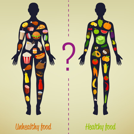 what to eat: Healthy lifestyle concept. Choose what you eat. Healthy lifestyle and bad habits. Vector illustration