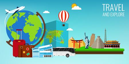 Travel composition with famous world landmarks. Travel and Tourism. Concept website template. Vector illustration. Modern flat design. Vector Illustration