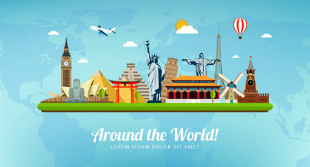 Travel composition with famous world landmarks. Travel and Tourism. Vector illustration. Modern flat design.