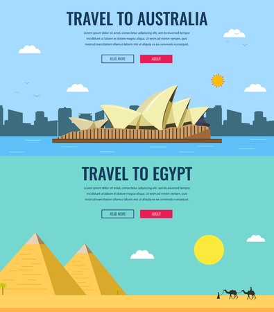 globe theatre: Travel composition with Australia and Egypt skylines. World famous landmarks. Travel and Tourism concept. Concept website template. Vector illustration. Modern flat design.