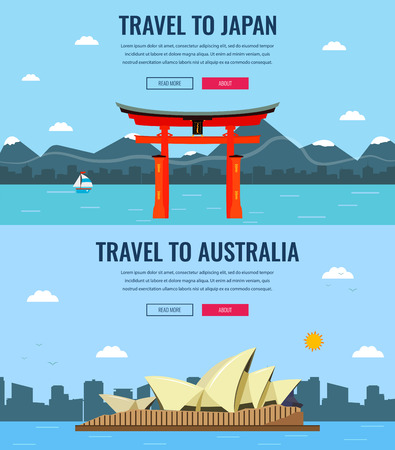 skylines: Travel composition with Japan and Australia skylines. World famous landmarks. Travel and Tourism concept. Concept website template. Vector illustration. Modern flat design.
