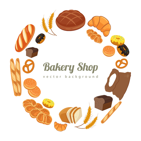 wholemeal: Collection of pastry or bakery items isolated on white. Cartoon bread icons. Frame of buns and bread with copy space for text. Vector