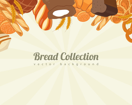 whole wheat bread: Bread collections. Food background with bread icons. Bakery products. Vector illustration