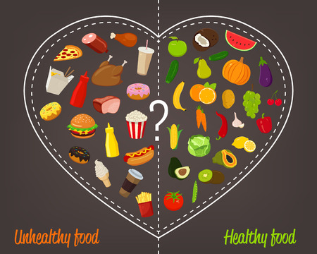 Healthy lifestyle concept. Choose what you eat. Healthy lifestyle and bad habits. Vector illustration