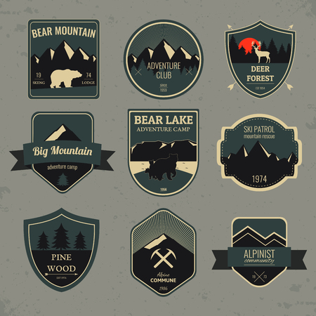 expedition: Set of outdoors adventure and expedition badges and labels. Vector illustration