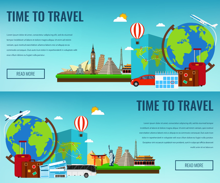 around the world: Travel composition with famous world landmarks. Travel and Tourism. Concept website template. Vector illustration.