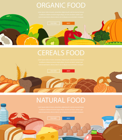 Three design banners set with fruits and vegetables, cereals food, natural food products. Healthy eating. Concept website template