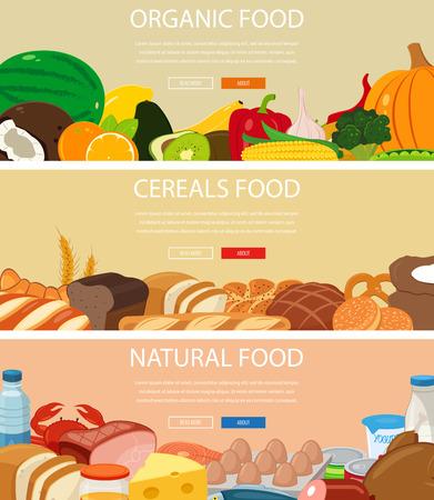 Drie ontwerp spandoeken met fruit en groenten, granen voedsel, natuurlijke voedingsmiddelen. Gezond eten. Concept website template Stockfoto - 59939491