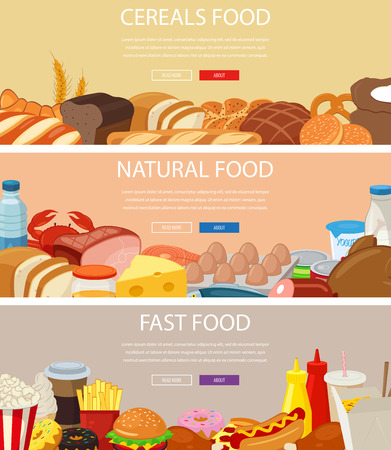 unhealthy eating: Three design banners set with cereals food, natural food products, fast food. Healthy and Unhealthy eating. Concept website template.