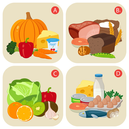 healty food: Healthy products containing vitamins. Vitamin group A, B, C, D. Healty food concept. Vector illustration