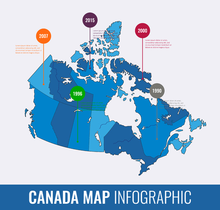 Canada map infographic template. All regions are selectable. Vector illustration Illustration