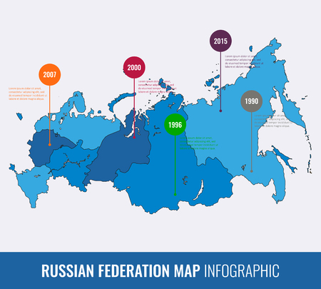 russia map: Russia map infographic template. All regions are selectable. Vector illustration