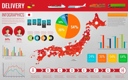 Japan transportation and logistics. Delivery and shipping infographic elements. Vector illustration