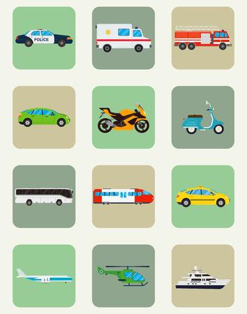 municipal: Transport icons set. Municipal and Travel transport. Public transport. Flat design style. Vector illustration