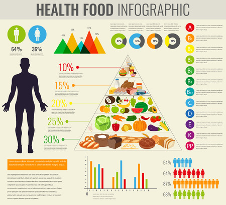 Health food infographic. Food pyramid. Healthy eating concept. Vector illustration