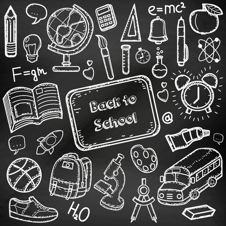 Back to School doodle set. Hand draw school items on a chalkboard. Vector illustration Illustration