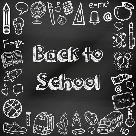 学校に戻って、手描きは黒板に落書き。教育の背景。手描きの学校を提供します。ベクトル図