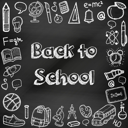 Back to school hand drawn doodles on a chalkboard. Education background. Hand drawn school supplies. Vector illustration
