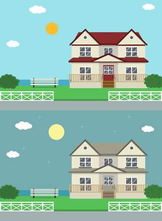 fasade: Cottage house building. Traditional house. Flat design style. Vector illustration