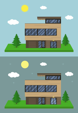 cottage house: Cottage house building. Flat design style. Modern constructions. Vector illustration