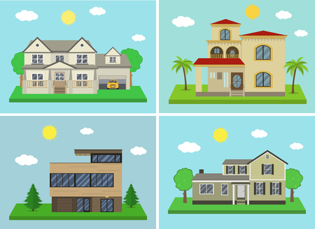 cottage house: Cottage house building set. Flat design style. Traditional and modern house. Vector illustration Illustration