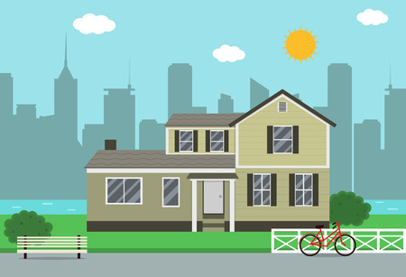 traditional house: Cottage house building. Traditional house. Flat design style. Vector illustration