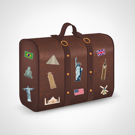 threadbare: Vintage suitcase with collection of travel labels. Travel and Tourism. Vector illustration