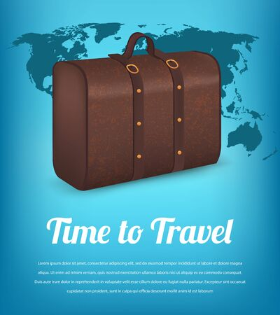 Suitcase for traveling on the background of the world map travel suitcase for traveling on the background of the world map travel and tourism vector gumiabroncs Image collections