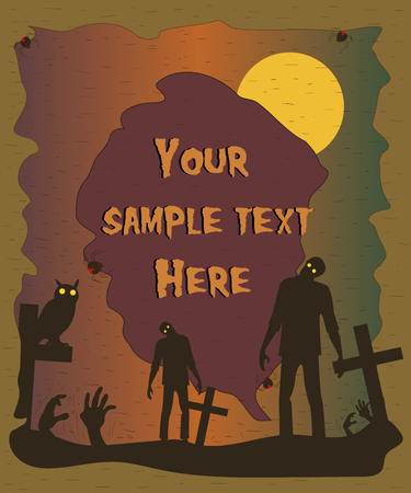 fool moon: Halloween poster with zombie silhouettes. Halloween background. Vector illustration