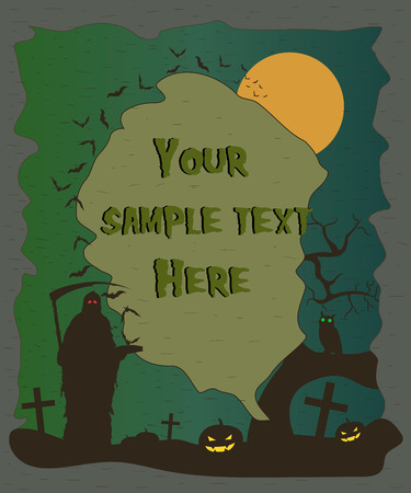 fool moon: Halloween poster with grim reaper and pumpkins silhouettes. Halloween background. Vector illustration