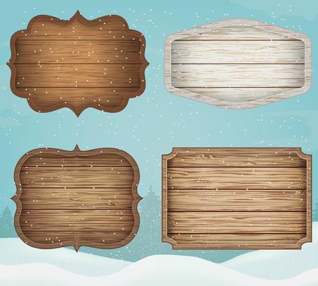 4 realistische houten borden. Decoratie-elementen voor Kerstmis Vintage stijl. Vector
