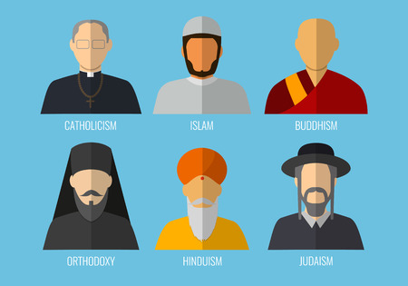 jain: World religions monk people icons. Flat design style. Vector illustration