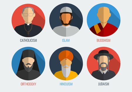 jewish faith: World religions monk people icons. Flat design style. Vector illustration