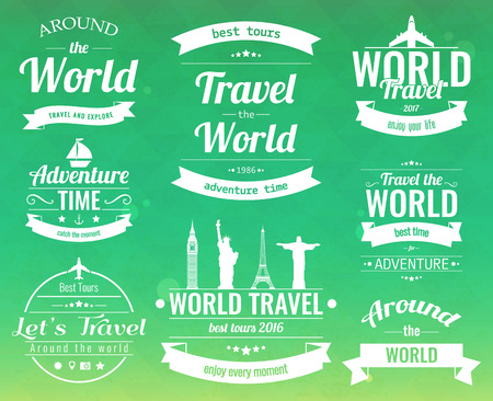 Set of vintage Travel badges and labels. Holiday Elements Icons. Travel and Tourism. Vector illustration