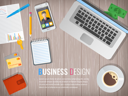wooden work: Business workplace. Office. Work in a team. Business design. Objects on a wooden background. Web banner. Vector. Flat design illustration