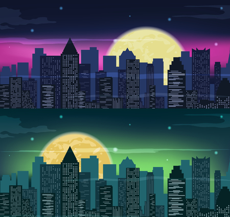 Urban night city skyline in moonlight. Vector illustration