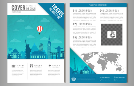 dawning: Travel information cards. Travel and Tourism brochure with famous world landmarks. Vector illusrtation Illustration
