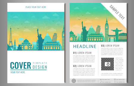 Travel Brochure Design With Famous Landmarks And World Map Template