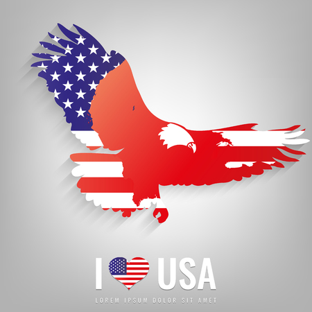 National USA symbol eagle with an official flag and map silhouette. North America. Vector illustration Illustration