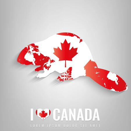 National Canada symbol Beaver with an official flag and map silhouette. North America. Vector illustration Illustration