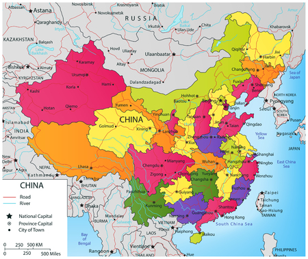 himalayas: Colorful China political map with selectable territories. Vector illustration