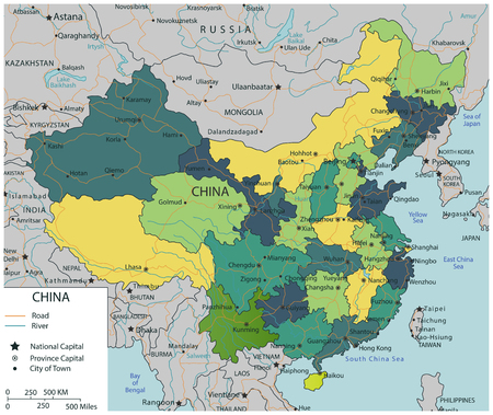 China map with selectable territories. Vector illustration