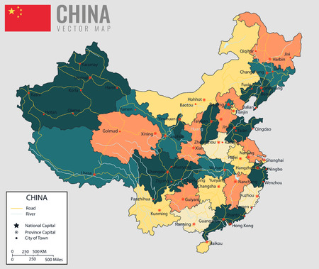 cartographer: China map with provinces. All territories are selectable. Vector illustration Illustration