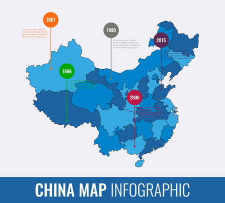 China map infographic template. All regions are selectable. Vector illustration