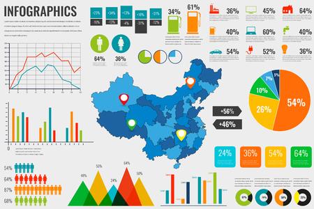 China kaart met Infographics elementen. Infographics layouts. vector illustratie