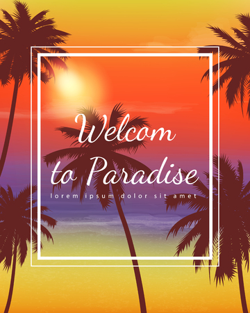 caribbean beach: Summer holidays background. Exotic landscape with palm trees. Illustration