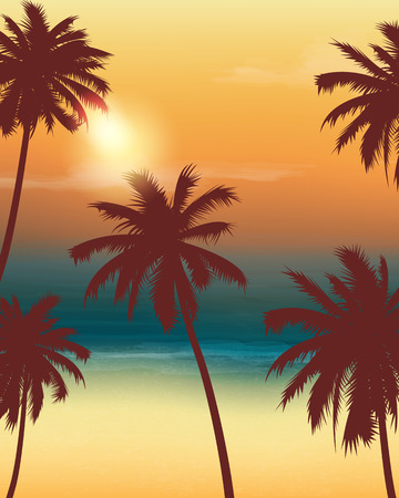 Summer holidays background. Exotic landscape with palm trees. Illustration