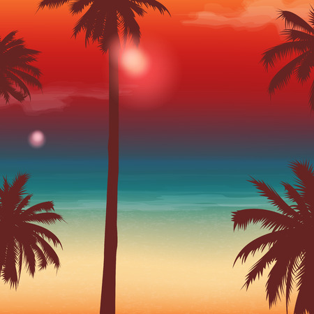 holiday card: Travel Backgrounds with Palm Trees. Exotic landscape.