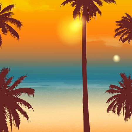 Summer holidays background. Exotic landscape with palm trees. Illustration